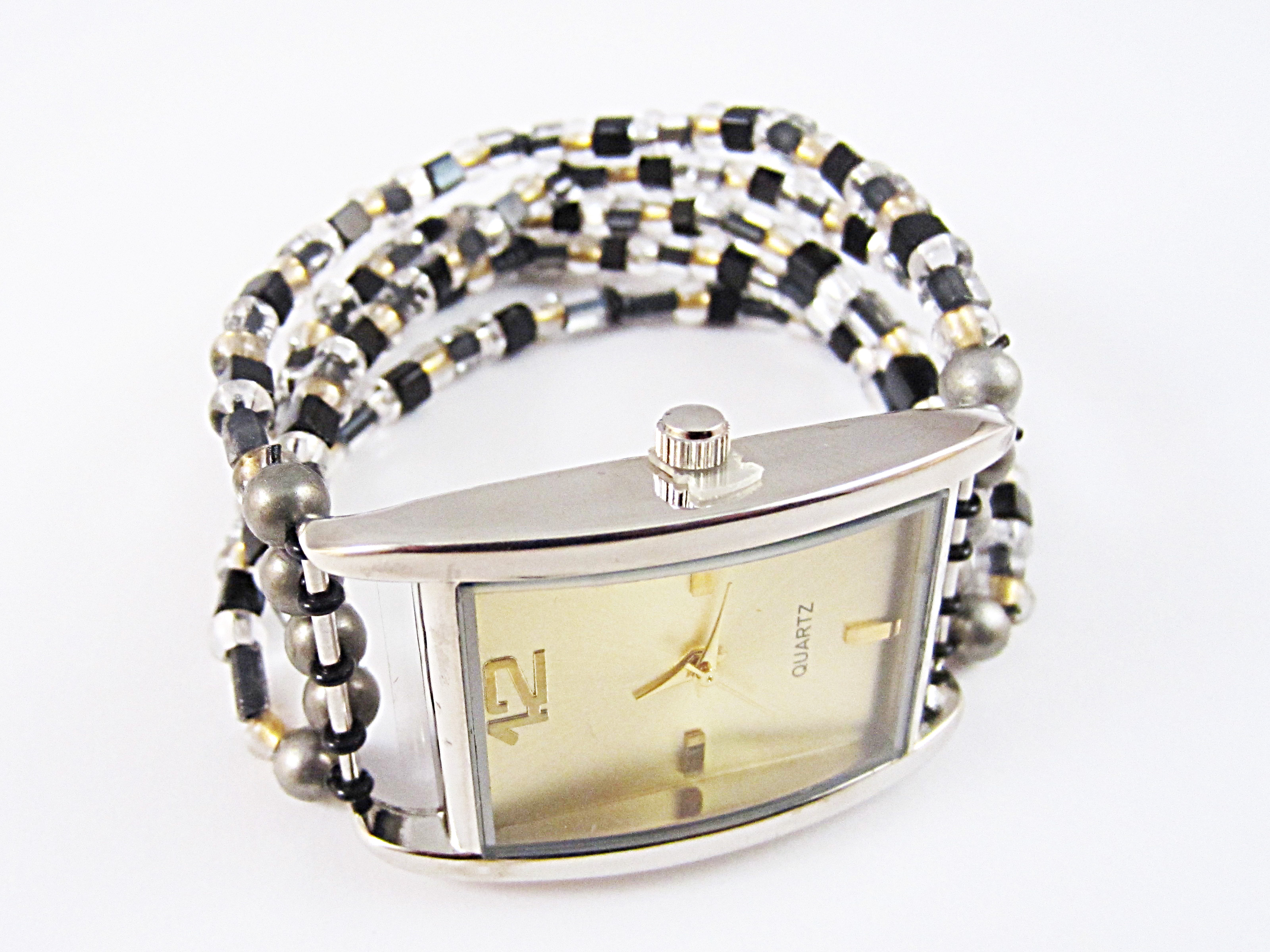 BRACELET WITH WATCH FACE & SEED BEADS