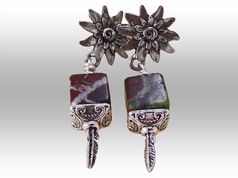Jasper-cube-stones-pewter-silver-findings