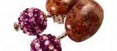 Crazy horse cabochon & rhinestone shambala earrings