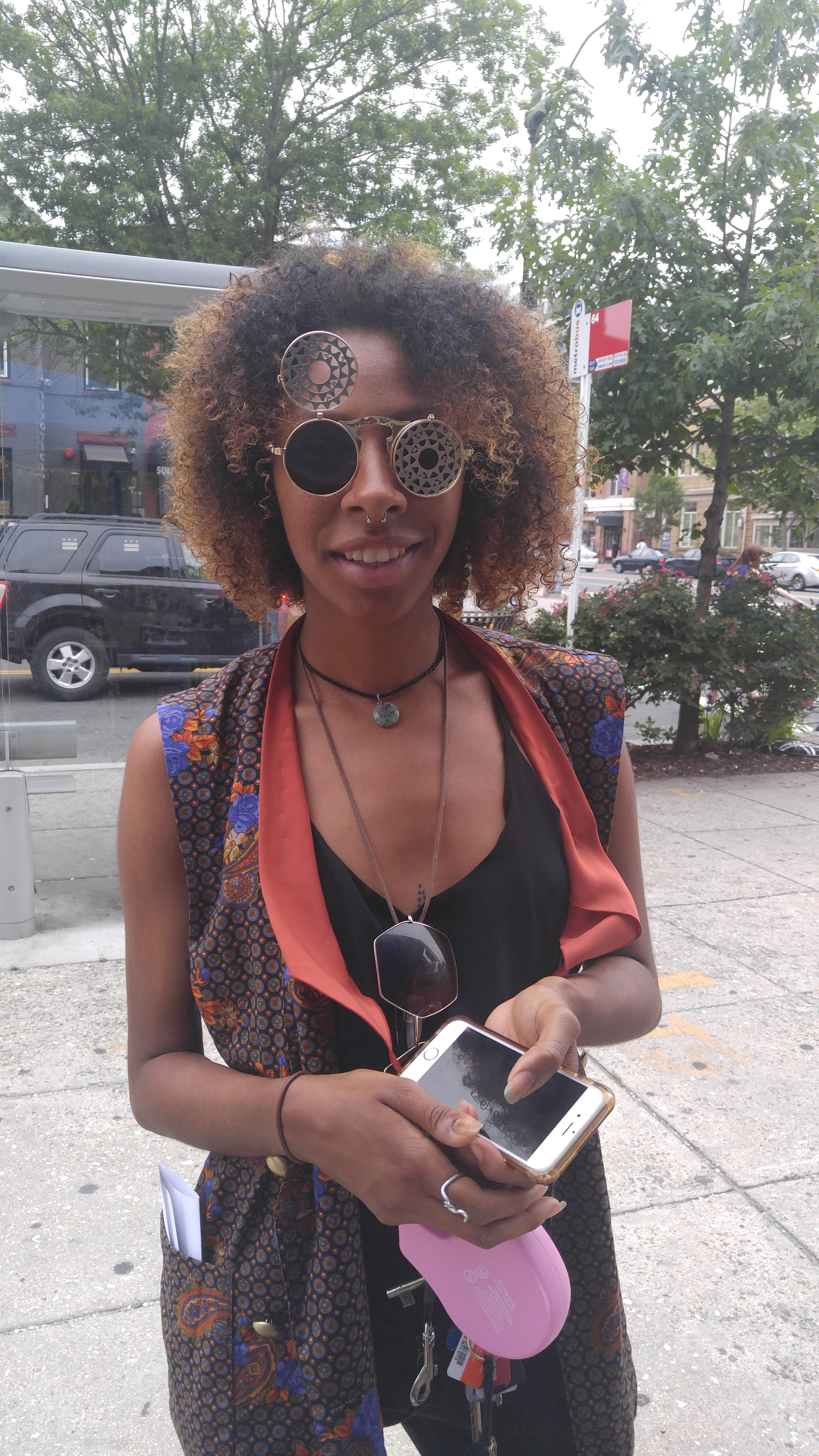 Customer in vintage clamshell sunglasses