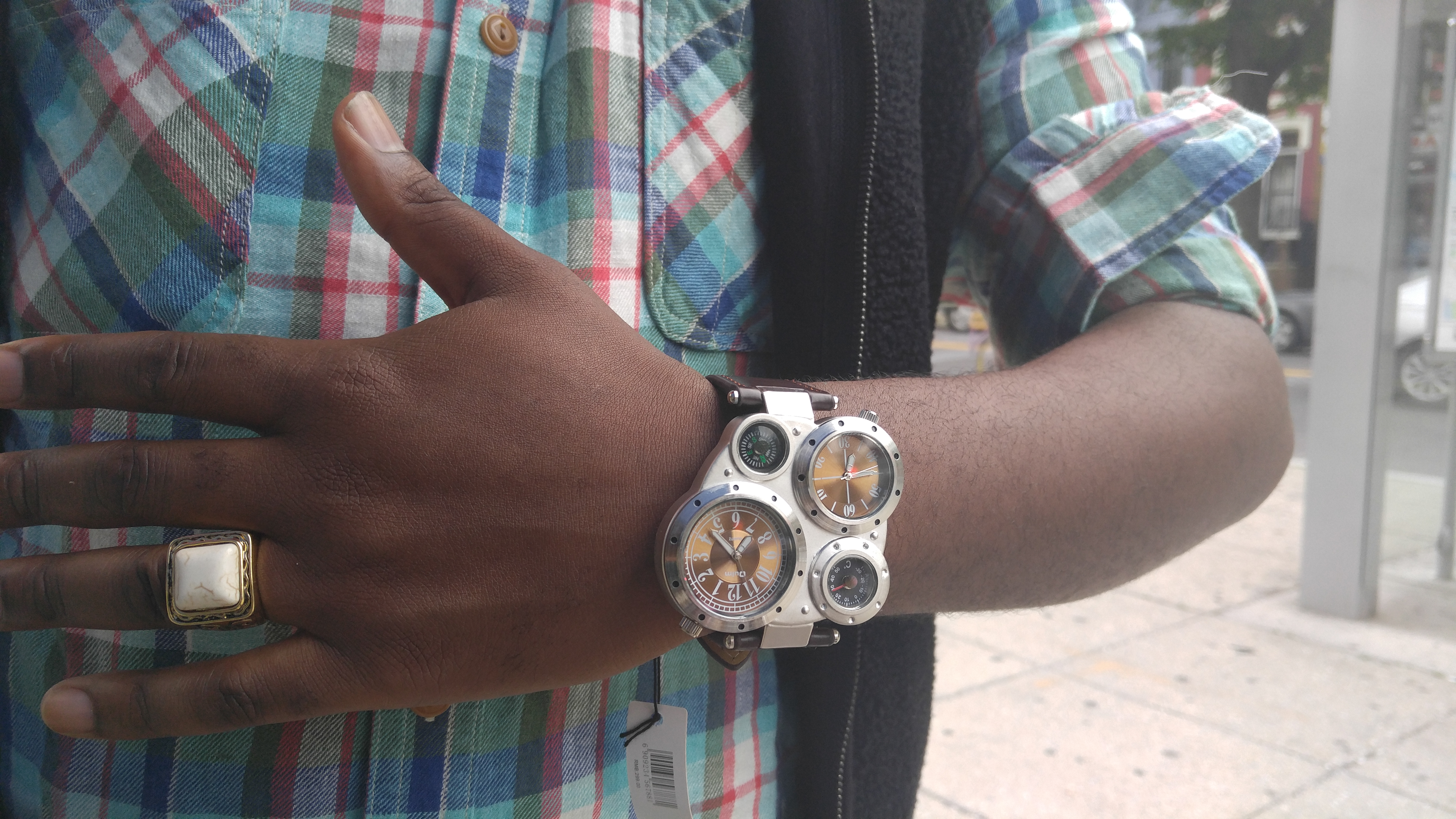 Customer at Lees Flowers shows off wrist watch