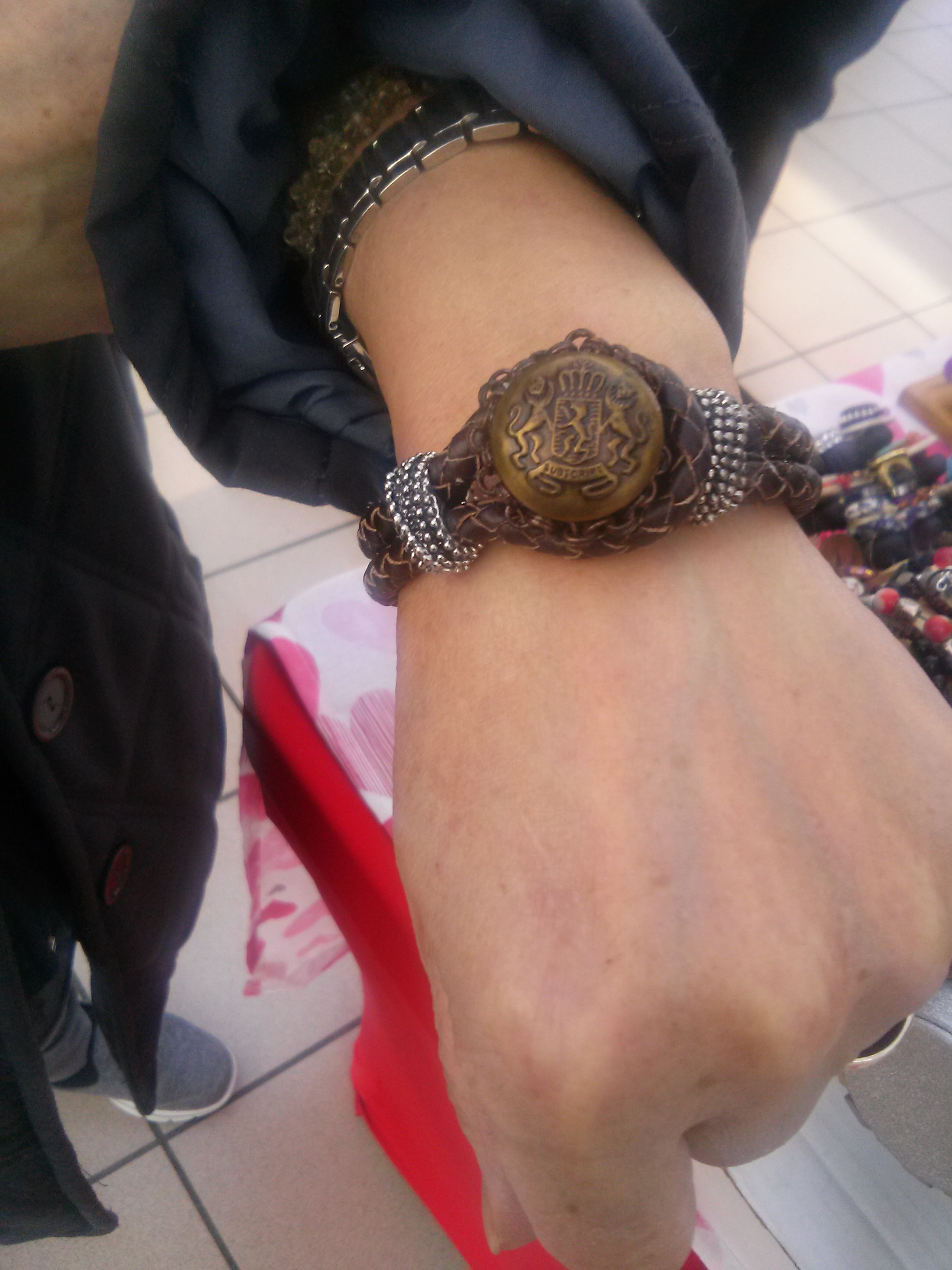 Braided Leather Bracelet with Antique Findings