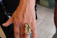 Customer wears ceramic ring with cross mold, Adams Morgans Day DC, Sept. 2016
