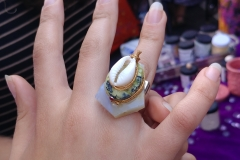 Adams Morgans Festival - Customer & Nikus Shell, turquoise & Lace Agate Ring
