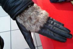 Customer tries on Leather Gloves with Faux Fur @ Airforce Base