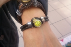 Black Leather Bracelet with Button Finding