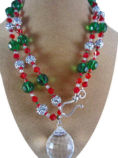 Christmas Inspired Necklace with Crystal Focal
